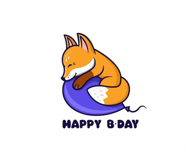 O logotipo feliz aniversário com raposa.