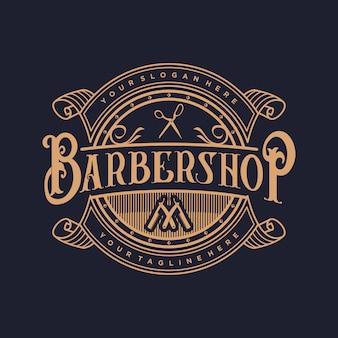 O logotipo para barbearia com estilo vintage