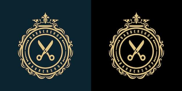 O logotipo para os negócios de beleza e spa de cabeleireiro de barbearia com estilo vintage de luxo real premium
