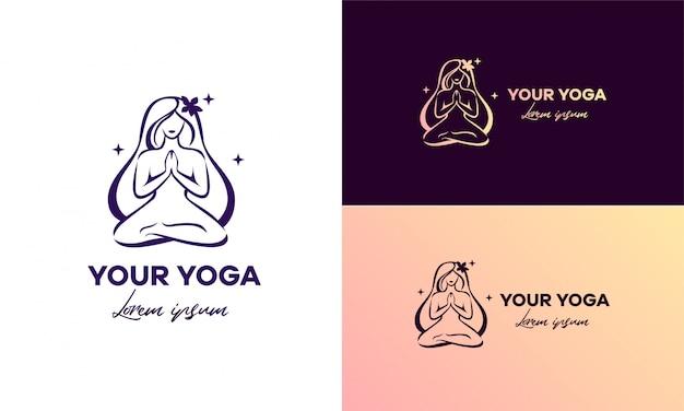O logotipo para yoga. treinador de ioga. feminino, lindo. Vetor Premium