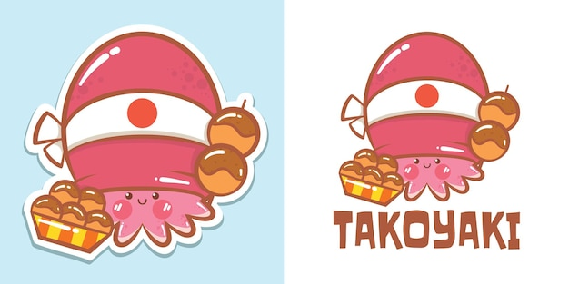 O logotipo takoyaki do personagem de desenho animado de um polvo fofo e ilustração do mascote