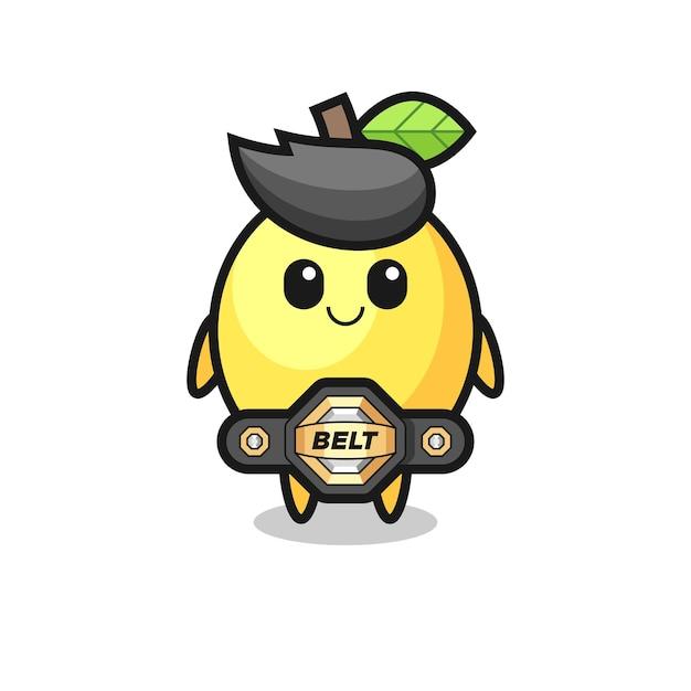 O lutador de mma mascote de limão com um cinto, design de estilo fofo para camiseta, adesivo, elemento de logotipo