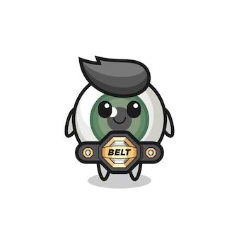 O lutador de mma, mascote do globo ocular com um cinto, design de estilo fofo para camiseta, adesivo, elemento de logotipo