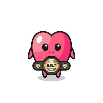 O lutador de mma, mascote do símbolo do coração com um cinto, design de estilo fofo para camiseta, adesivo, elemento de logotipo