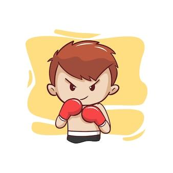 O lutador fofo em luvas de boxe