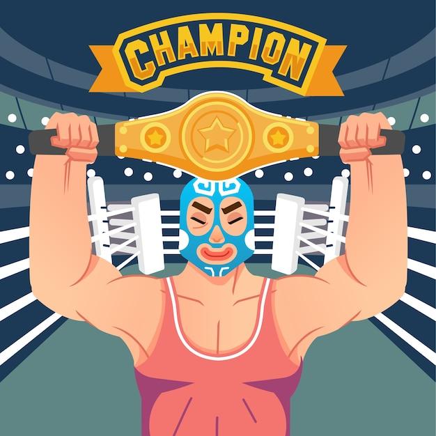 O lutador levanta o cinto da vitória no ringue com a letra do campeão acima da ilustração. usado para pôster, imagem da web e outros