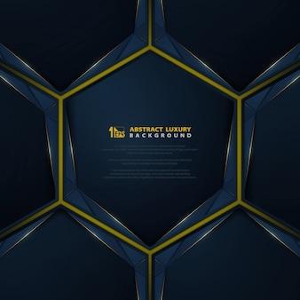 O luxo moderno azul do inclinação abstrato na linha ouro brilha cobre o fundo.