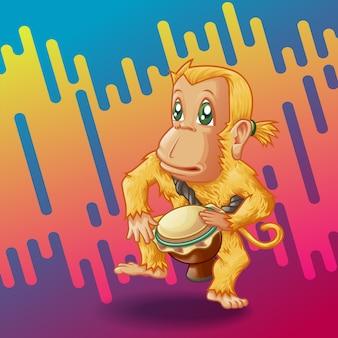 O macaco baterista.