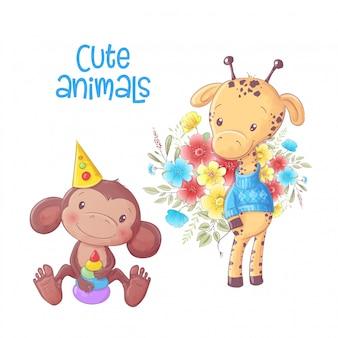 O macaco bonito dos animais dos desenhos animados e o girafa entregam o desenho.