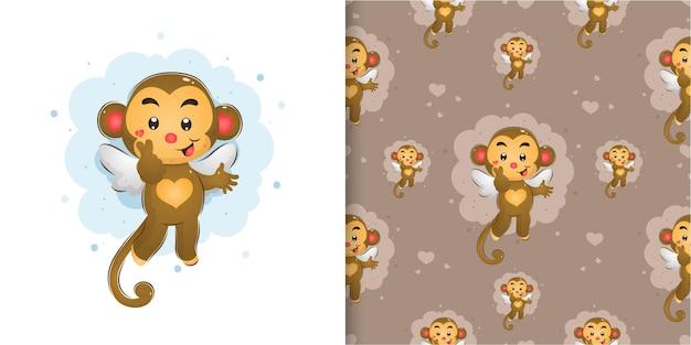 O macaco fada com as asinhas dando o sinal de amor no conjunto padrão de ilustração