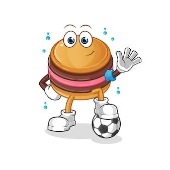 O macaroon jogando futebol, mascote do personagem