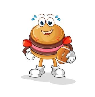 O macaroon jogando rúgbi mascote do personagem
