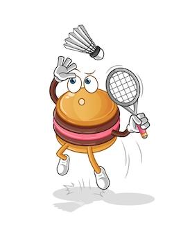 O macaroon quebra no mascote dos desenhos animados de badminton. mascote mascote dos desenhos animados