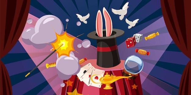 O mágico explode o conceito horizontal. ilustração dos desenhos animados do mágico explodir fundo