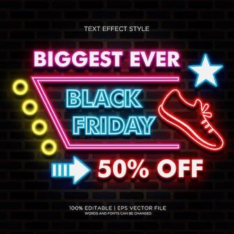 O maior banner da black friday com efeitos de texto em neon