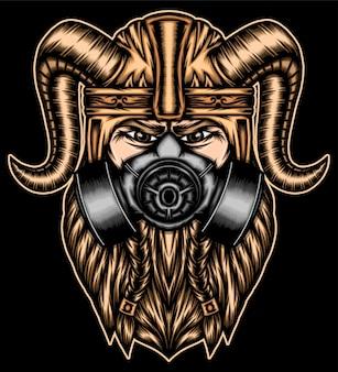 O mais forte viking com máscara de gás.