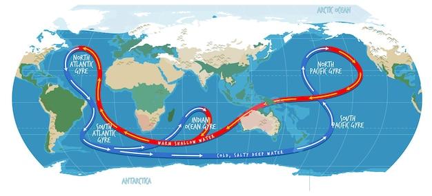 O mapa do mundo atual do oceano com nomes
