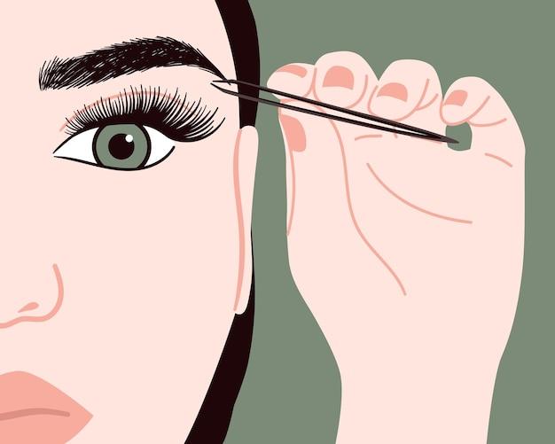 O maquiador arranca as sobrancelhas com uma pinça. salão de beleza e cosmetologia