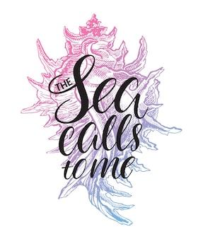 O mar me chama. cartão fofo com frase inspiradora desenhada à mão