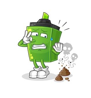 O marcador com ilustração de resíduos fedorentos. personagem