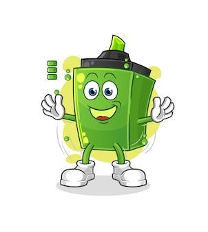 O marcador de bateria cheia. mascote dos desenhos animados