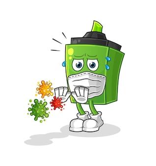 O marcador recusa desenho animado de vírus. mascote dos desenhos animados