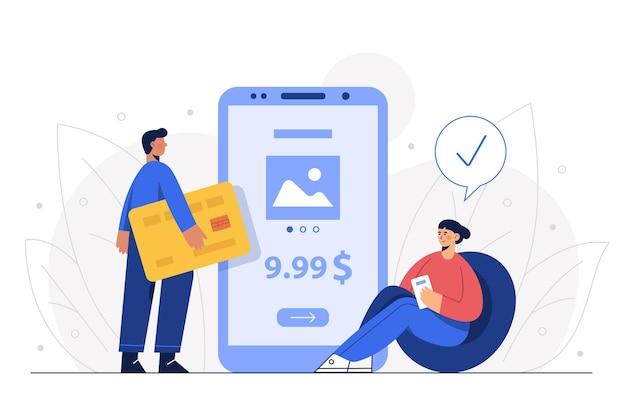 O marido e a mulher pagam as mercadorias com cartão de crédito via mobile banking.