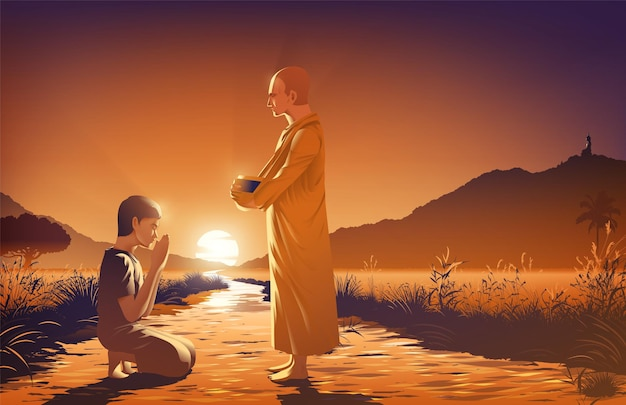 O marido humano com a esposa estrangeira está dando esmolas a um monge