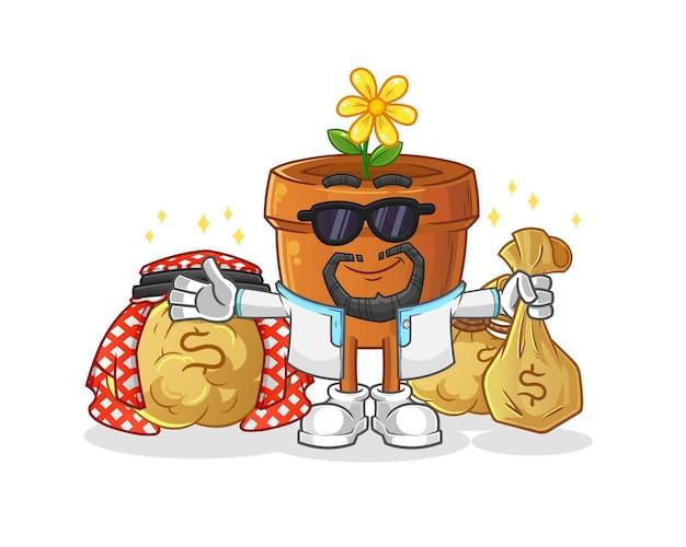 O mascote árabe rico do vaso de flores. mascote mascote dos desenhos animados