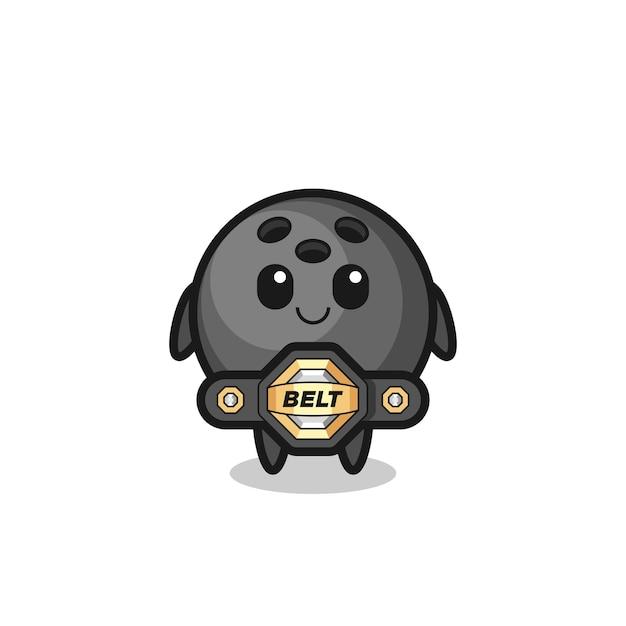 O mascote da bola de boliche do lutador de mma com um cinto, design de estilo fofo para camiseta, adesivo, elemento de logotipo