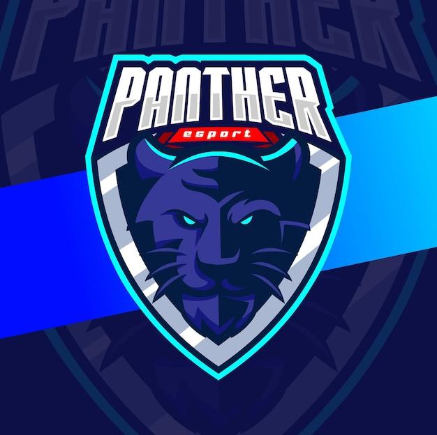 O mascote da cabeça de pantera irritada esportiva o personagem de design de logotipo para esportes e jogos