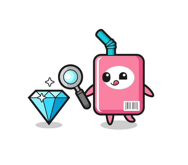 O mascote da caixa de leite está verificando a autenticidade de um diamante, design de estilo fofo para camiseta, adesivo, elemento de logotipo