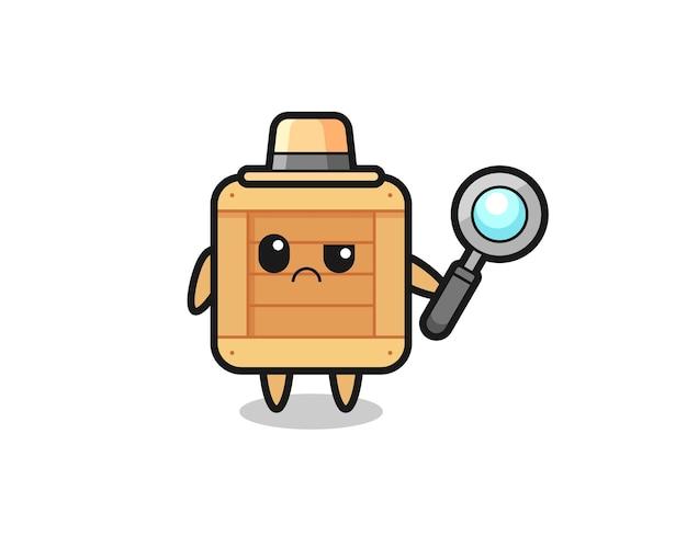 O mascote da caixa de madeira fofa como um detetive, design de estilo fofo para camiseta, adesivo, elemento de logotipo