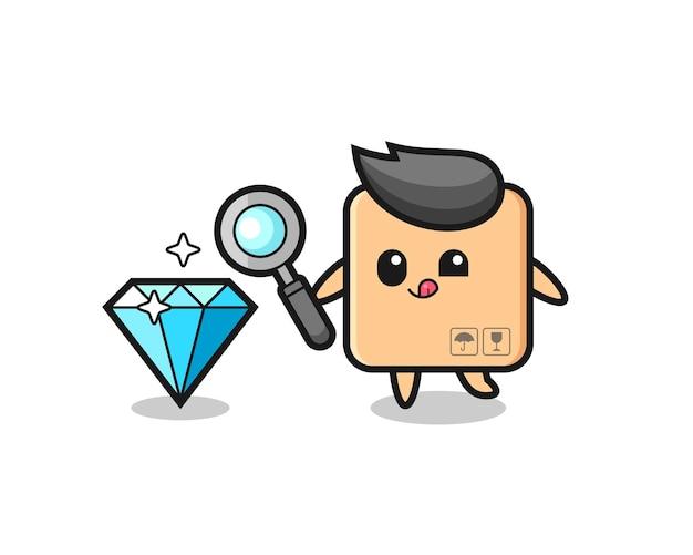 O mascote da caixa de papelão está verificando a autenticidade de um diamante, design de estilo fofo para camiseta, adesivo, elemento de logotipo