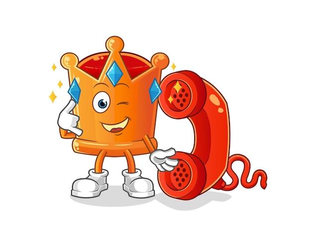 O mascote da chamada da coroa. desenho animado