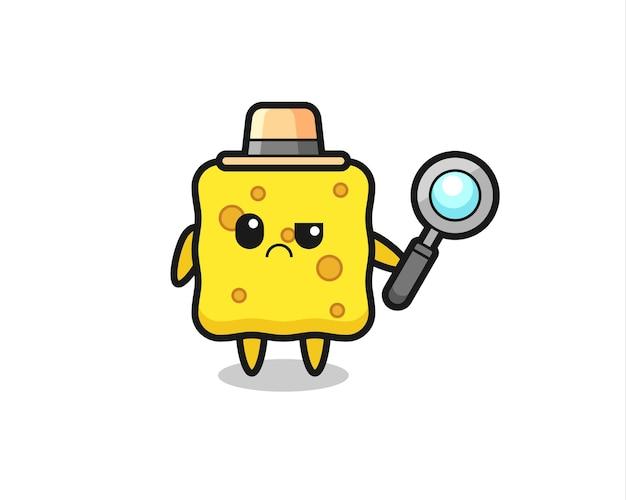 O mascote da esponja fofa como um detetive, design de estilo fofo para camiseta, adesivo, elemento de logotipo