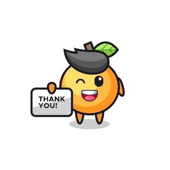 O mascote da fruta laranja segurando uma faixa que diz obrigado, design de estilo fofo para camiseta, adesivo, elemento de logotipo