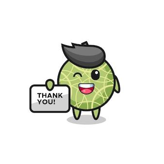 O mascote da fruta melão segurando uma faixa que diz obrigado, design de estilo fofo para camiseta, adesivo, elemento de logotipo