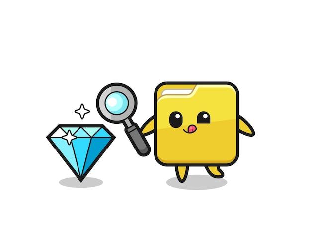 O mascote da pasta está verificando a autenticidade de um diamante, design de estilo fofo para camiseta, adesivo, elemento de logotipo