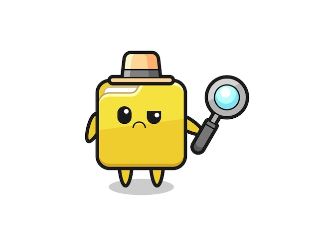 O mascote da pasta fofa como um detetive, design de estilo fofo para camiseta, adesivo, elemento de logotipo