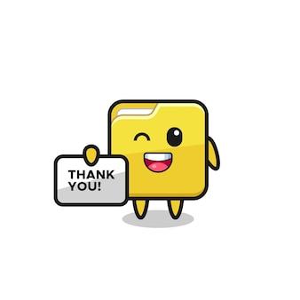 O mascote da pasta segurando um banner que diz obrigado, design de estilo fofo para camiseta, adesivo, elemento de logotipo