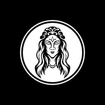 O mascote da rainha com quadro de círculo
