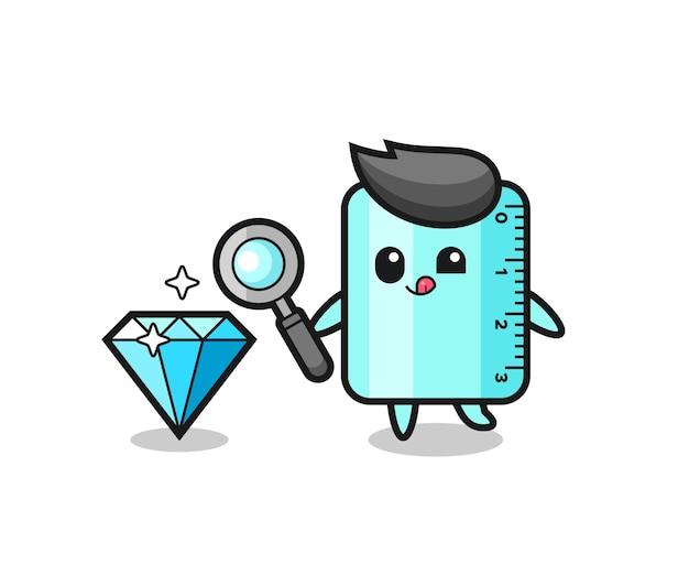 O mascote da régua está verificando a autenticidade de um diamante, design de estilo fofo para camiseta, adesivo, elemento de logotipo