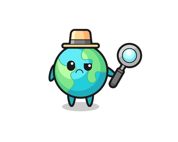 O mascote da terra fofa como detetive, design de estilo fofo para camiseta, adesivo, elemento de logotipo