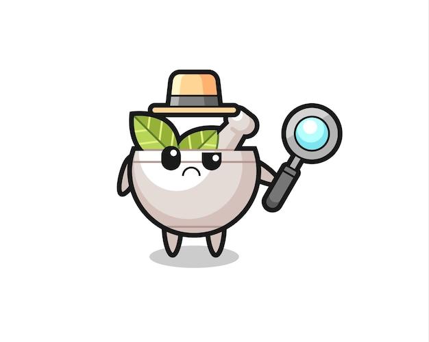 O mascote da tigela de ervas fofa como um detetive, design de estilo fofo para camiseta, adesivo, elemento de logotipo