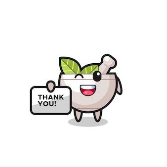 O mascote da tigela de ervas segurando uma faixa que diz obrigado, design de estilo fofo para camiseta, adesivo, elemento de logotipo