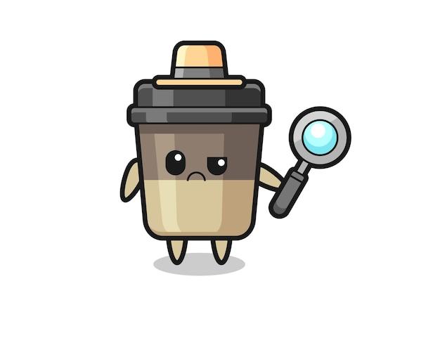 O mascote da xícara de café fofa como um detetive, design de estilo fofo para camiseta, adesivo, elemento de logotipo