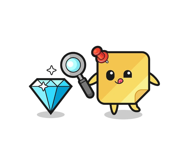 O mascote das notas adesivas está verificando a autenticidade de um diamante, design de estilo fofo para camiseta, adesivo, elemento de logotipo