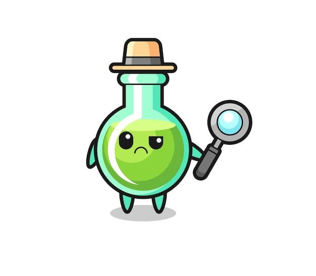 O mascote de copos de laboratório fofos como um detetive, design de estilo fofo para camisetas, adesivo, elemento de logotipo