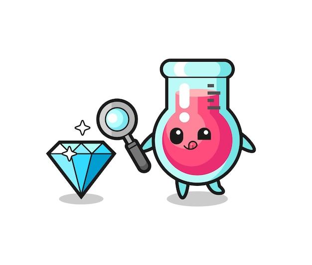O mascote do copo de laboratório está verificando a autenticidade de um diamante, design de estilo fofo para camiseta, adesivo, elemento de logotipo